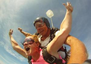 Skydiving on my 42nd birthday.  I screamed like a badass.